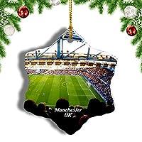 Weekinoイギリスイングランドエティハドスタジアムマンチェスタークリスマスオーナメントクリスマスツリーペンダントデコレーション旅行お土産コレクション陶器両面デザイン3インチ