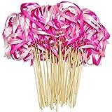 CIEOVO リボンワンド 50個パック ウェディングストリーマー ベル付き シルクフェアリースティックワンド パーティーでの記念品 ベビーシャワー ホリデーのお祝い ピンク
