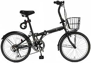 ジェフリーズ 自転車 折りたたみ自転車 20インチ AMADEUS マットブラック シマノ6段変速 前後泥除け/カゴ/LEDライト/ワイヤーロック標準装備
