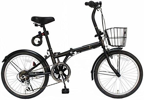 【Amazon.co.jp限定】JEFFERYS(ジェフリーズ)折りたたみ自転車 20インチ AMADEUS マットブラック シマノ6段変速 前後泥除け/カゴ/LEDライト/ワイヤーロック標準装備