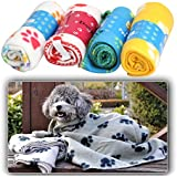 Soft Cozy Paw Prints Handcrafted Pet Fleece Blanket Brand New