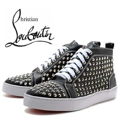 【Christian Louboutin / クリスチャン・ルブタン】 Louis Silver Flat Spikes High Top Sneakers Black 【並行輸入品】 (EU43=26.5cm)