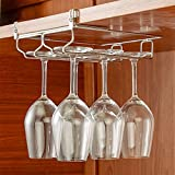HULISEN ワイングラスホルダー ステンレス製 吊り下げ 穴あけ不要 フック (2レーン)