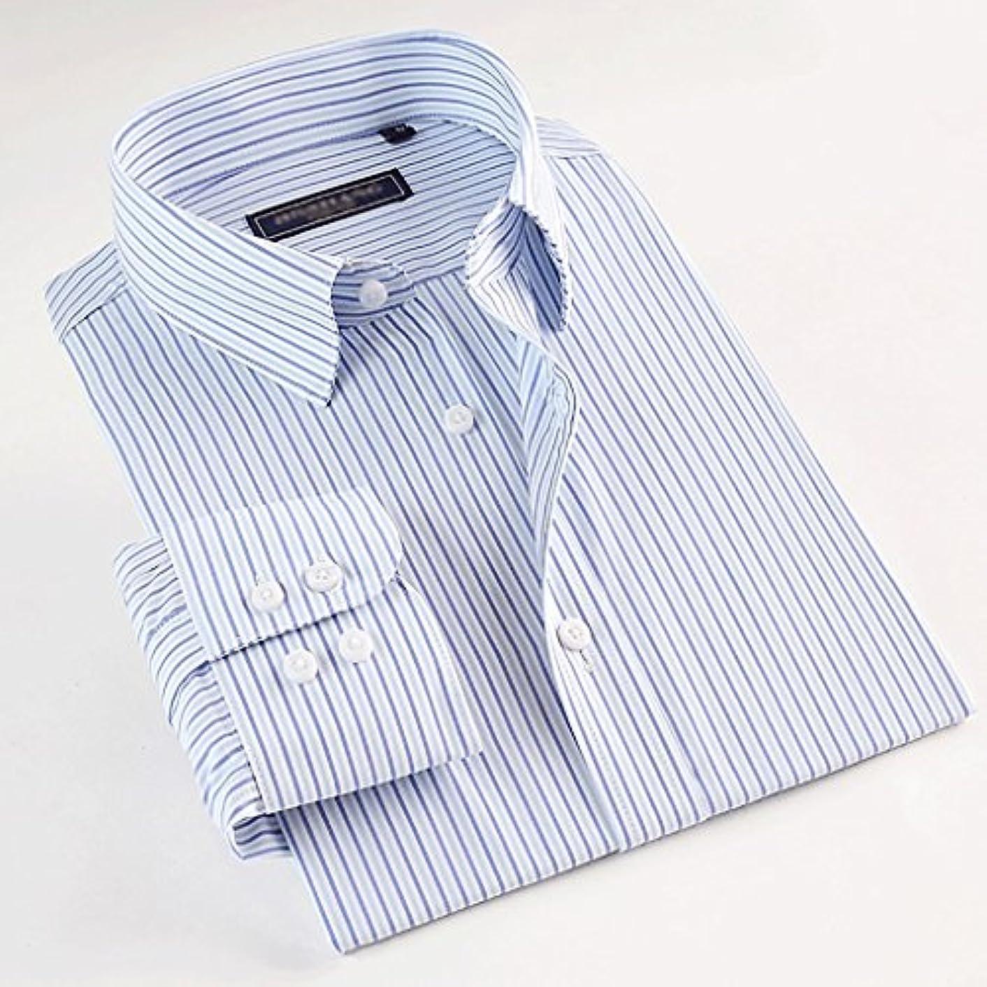 前方へ野なつばWENJUN 選べる11色のメンズ長袖シャツコットンストライプシャツビジネスシャツ ( 色 : Stripe 28A , サイズ さいず : XXXL )