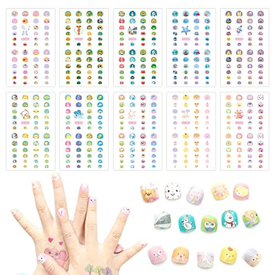 テーブルを設定する探検同級生HANGNUO ネイルシール デザイン かわいい キャラクター 選べる200種類 極薄 シンプル (子供用)