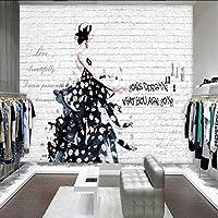 Lixiaoer カスタム壁画ヨーロッパアメリカレンガ壁画手描きの美しい衣料品店の背景スタジオ壁画-250X175Cm