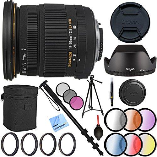 シグマ17–50mm f / 2.8EX DC OS HSM FLDズームレンズfor Canonデジタル一眼レフ77mmフィルタセットPlus Pro三脚アクセサリーバンドル