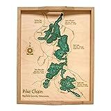 チェルシー湖( with Little Chelsea湖) inテイラー、Wi???2d Serving Tray 14?x 18で???レーザー彫り木製航海チャートと地形奥行マップ。