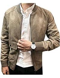 chenshiba-JP ポケット付きメンズカジュアルジップアップフォークススエード暖かいフライトボンバージャケット