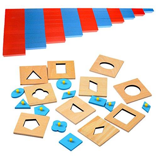 SONONIA キッズ モンテッソーリ 木製 知育 おもちゃ 幾何学的 パズル ミニ 数値 棒 カウント