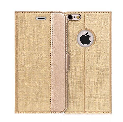 iPhone6s ケース iPhone6ケース ,Fyy ハンドメイド 良質PUレザーケース 手帳型 保護カバー カード収納ホルダー付き スタンド機能付 マグネット式 スマートフォンケース ゴールド