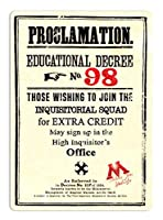 Proclamation Educational Decree NO.98 金属板ブリキ看板警告サイン注意サイン表示パネル情報サイン金属安全サイン