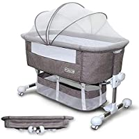 Maydolly(メイドリ) 添い寝 ベビーベッド コンパクトに折り畳み可能で 収納便利 消音昇降機能とキャスター付き 固定ベルト付き かやつき マットつき 収納かごつき 新生児0ヶ月 ~ 24ヶ月 (グレー)