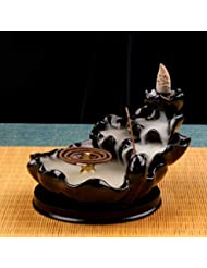 (Style4) - Backflow Incense Burner Buddha monk and Moon Ceramic Censer for Home Decor Tea ceremony (Style4)
