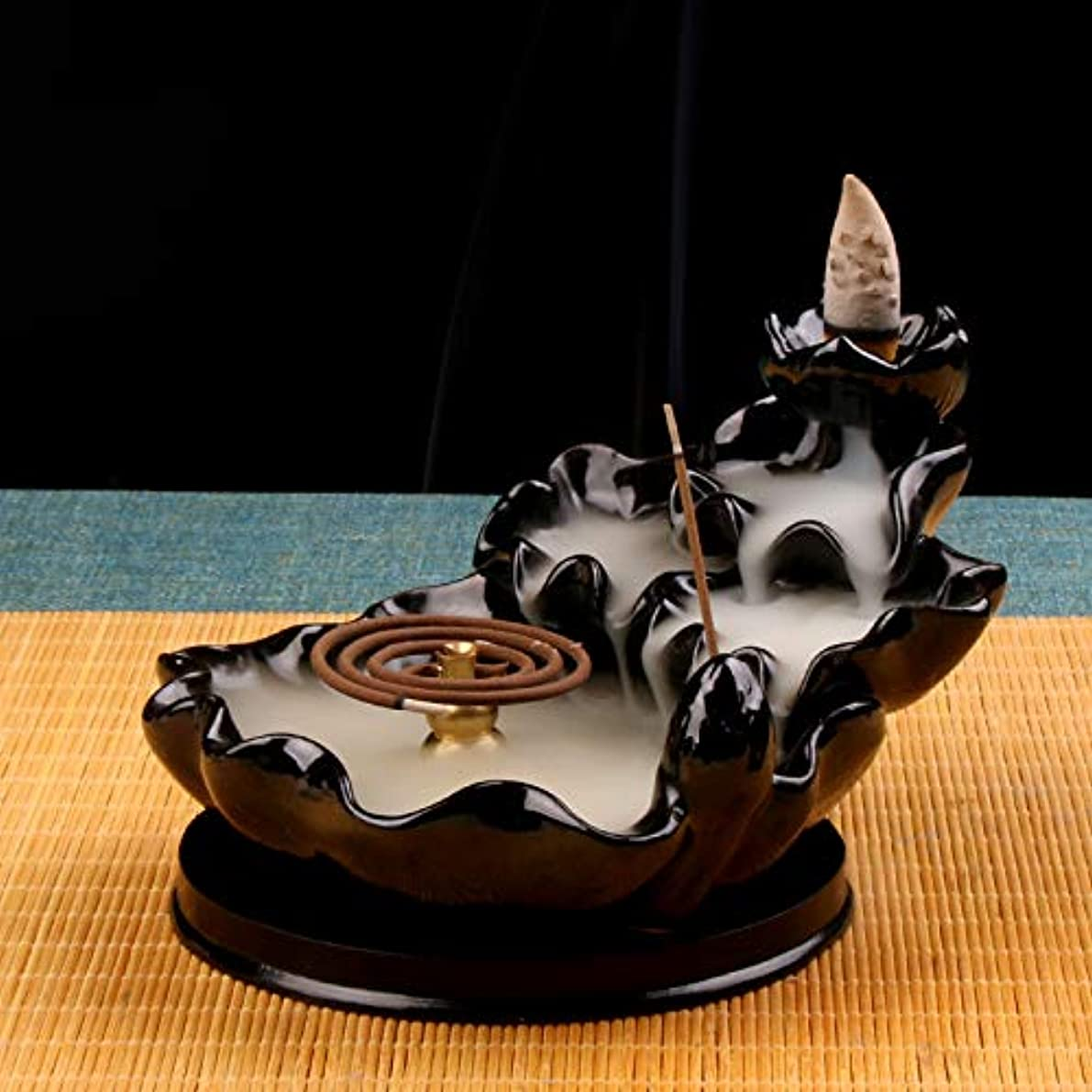 よろめく健康攻撃(Style4) - Backflow Incense Burner Buddha monk and Moon Ceramic Censer for Home Decor Tea ceremony (Style4)