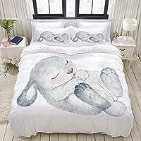 MOBEITI 布団カバー シングル 3点セット,眠っている単一の白い健康的な探しているイースターのウサギの水彩スケッチ, ベッド用 掛け布団 + 枕 カバー 洋式 和式兼用 ダブル(190 x 210cm)