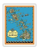 ハワイの夏の楽しみ、地図 - ハワイ観光局 - ビンテージイラストマップ によって作成された ルース・テイラー・ホワイト c.1930 - アートポスター - 28cm x 36cm
