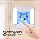 Digital Thermometer Humidity Meter Indoor Hygrometer Room Temperature Monitor Large LCD Display Thermometer Hygrometer Digital Clock for Home Car Office