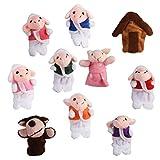 【ノーブランド品】指人形 フィンガーパペット クリスマス 家族みんなで指人形 オオカミと7小さな子羊 童謡 おとぎ話