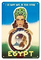 22cm x 30cmヴィンテージハワイアンティンサイン - エジプト - 私はあなたの未来において幸せな日々を見ます - エジプトの占い師 - ビンテージな世界旅行のポスター によって作成された ラシャッド・マナッサス c.1960