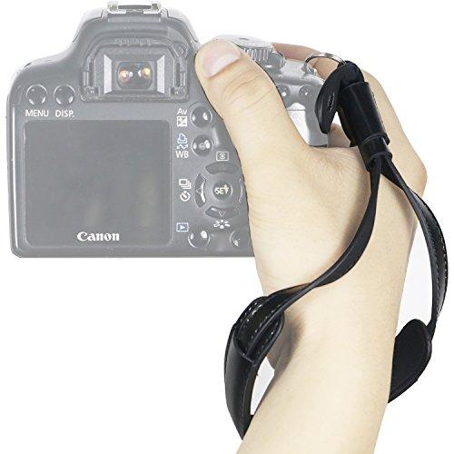 WASSTEEL Camera Wrist Strap PUレザーDSLR / SLRカメラのハンドストラップ(キヤノン、ニコン、ソニー、オリンパス、富士フイルム、三星カメラ(ブラック)