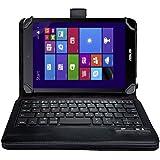IVSO オリジナルASUS VivoTab 8 M81C (2014 Version) 用(7-8インチのタブレットも適用) PUレザーケース マグネット着脱可能 一体型Bluetoothワイヤレスキーボード (ブラック)
