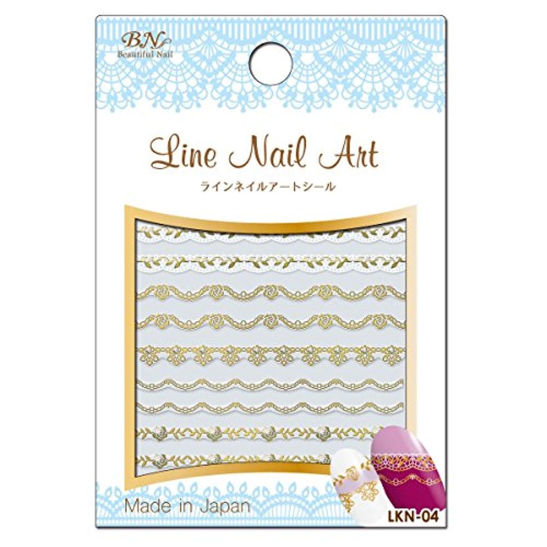 直面する辛な乳白BN ラインネイルアートシール LKN-04 レース 箔ゴールド × ホワイト (1シート)