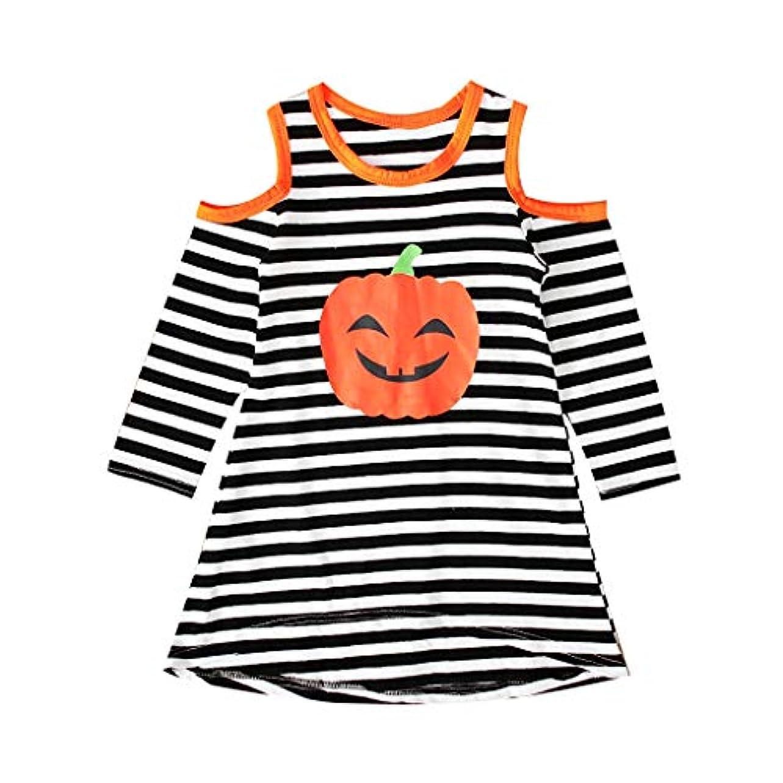 適性参照アカウントMISFIY 子供 ベビー服 幼児 女の子 ガールズ ドレス スカート 長袖1-5歳 ハロウィン Halloween 仮装 かわいい 柔らかい 誕生記念 出産祝い (130)
