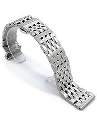 (ドノロロジオ)DonOrologio 腕時計 ベルト ステンレス バンド ラグ幅 22mm 観音 ダブル プッシュ 式 バックル 七連 鏡面 光沢 磨き 直カン 取替 用 工具 付 長さ 調節 (シルバー)