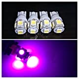 12/24V選択 LED T10ウェッジ 5連 4個セット 3チップ5050 SMDスモール ポジション (24V用ピンク)