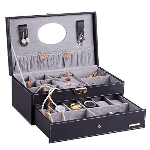 ローリング(Rowling)大容量 腕時計収納ケース 6本用 コレクション ボックス アクセサリーケース クッション&リング差し付き 鏡付き ブラック