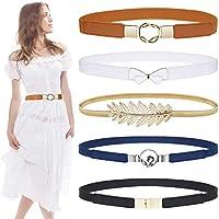 Skinny Belts for Women 5 Pack, EAONE Fashion Skinny Belt Stretch Women Waist Belt Plus Size Elastic Waist Band for Dresses, 5 Style