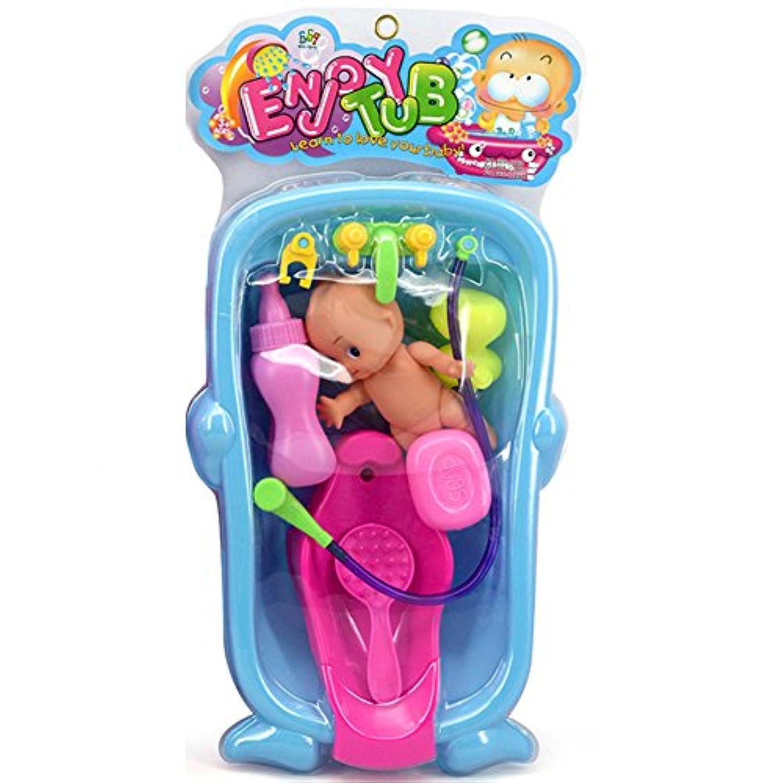 ウンチョン お風呂用おもちゃ お人形遊び おせわパーツ 水遊び バスタブ プール 玩具 お風呂セット 幼児 (Blue)