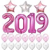 BESTOYARD 風船セット 2019 アルミバルーン ラテックス風船 飾り付け 星 新年 クリスマス パーティー お祝い イベント 装飾 21点セット(ピンク)