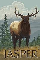 ジャスパー国立公園、カナダ–Elkシーン 12 x 18 Signed Art Print LANT-15836-708