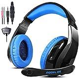 【AFUNTA】LETTON高品質ステレオゲーミングヘッドセット マイク付き 3.5mmジャックケーブルとXbox360用ケーブル -ブラック&ブルー