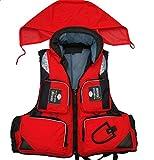 (チェリーレッド) CherryRed ライフジャケット 大人 多数のポケット付き 帽子付き 防水 アウトドアお洒落 ジャケット 釣り用 撮影用 XL レッド