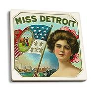 Missデトロイトブランドシガーボックスラベル 4 Coaster Set LANT-27282-CT