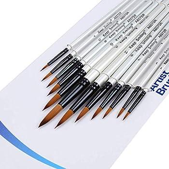 画筆 セット ペイントブラシ 水彩筆 油絵筆 用筆 (鋭い12本入り)