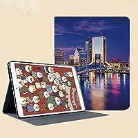 印刷者iPad Mini ケース クリア iPad Mini2 ケース レザー PU iPad Mini3 ケース 軽量 スタンド機能 傷つけ防止 オートスリープ ハード二つ折 ジャクソンビルフロリダスカイライン活気に満ちた夜セントジョンズ川風光明媚な