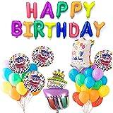 PartyWoo ハッピーバースデー バルーン 誕生日 37個 誕生日 バルーン アルファベット アルミ風船 巨大風船 カラー風船 バースデー デコレーション 誕生日 飾り カラフル バルーン