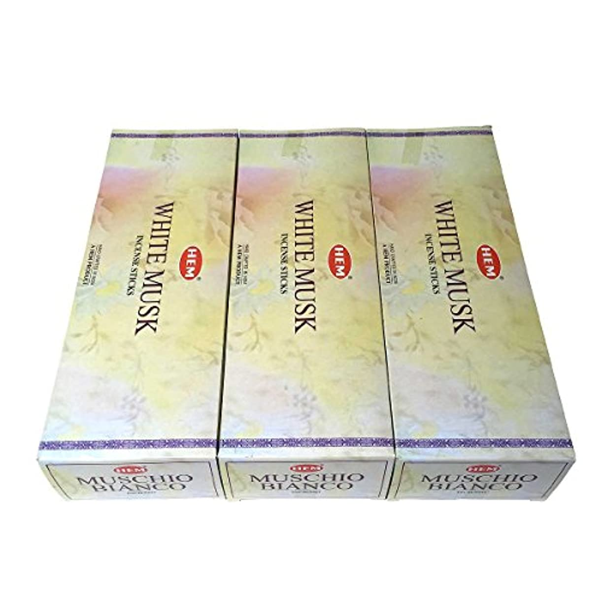 抑制するサージ火星ホワイトムスク香スティック 3BOX(18箱) /HEM WHITE MUSK/インセンス/インド香 お香 [並行輸入品]