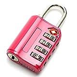 スーツケース用 南京錠 TSA対応 ダイヤル式 暗証番号 レッド 赤