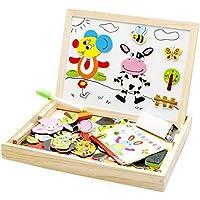 木製パズル 磁気 知育玩具 木製の両面描画ライティングボード 子供用パズル 製図板 自由に組み合わせ 磁気ステッカー 木のおもちゃ 絵かきボード hibote No.2
