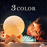 Moon Lamp, 3 Colors 3D Led Moon Night Light lamps for Kids Gifts for Women, USB Rechargeable & Touch Control & Dimmable Moon Lamp with Stand, Creative Home Decoration (3.9 inch)