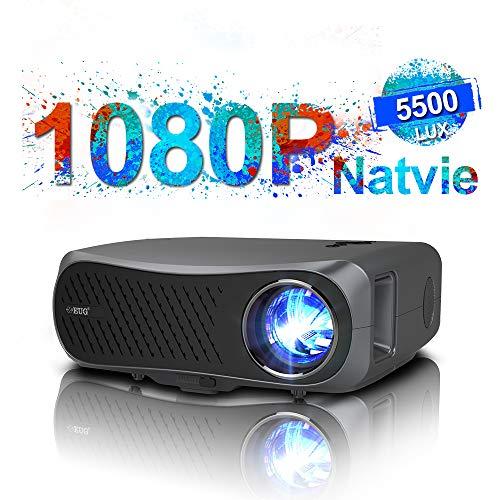 ネイティブ1080pプロジェクター 5500lm高輝度、LED LCD ホームシアタープロジェクター 4kの映画/ビデオ/ゲームをサポート 台形補正 大画面、HDMI/USB/Fire TV Stick /DVDプレーヤー/ラップトップ/コンピューター/ス