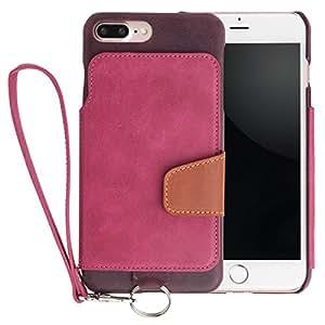 <iPhone 7 Plus用> RAKUNI (ラクニ) 本革 背面ポケット型ケース(ラズベリー)前面むきだし/ストラップ付き/スタンド機能/財布がわりに(ピンク&濃紫)