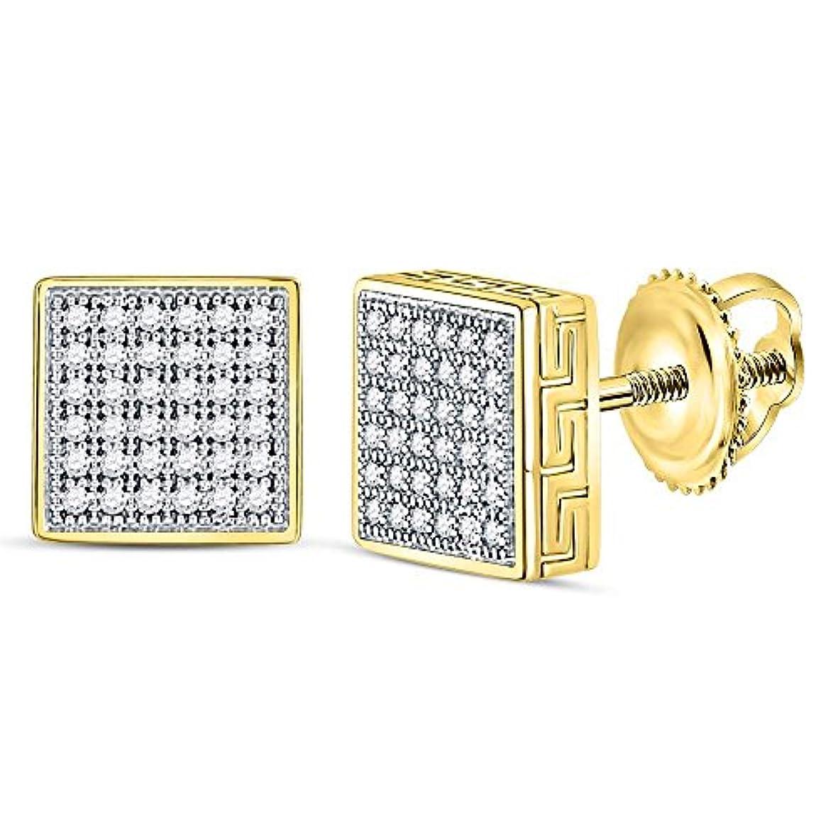 揃えるキッチンペパーミントRoy Rose Jewelry 10K イエローゴールド メンズ ラウンドダイヤモンド スクエア クラスタッド ピアス - カラット tw