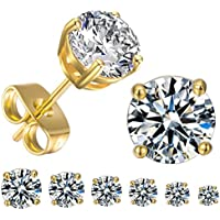 GEMSME 18K Yellow Gold Plated Round Cubic Zirconia Stud Earrings Pack of 6