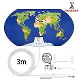 ANTOP 屋内 地デジアンテナ 地上デジタル放送用テレビアンテナ UHF ブースター内蔵 中・弱電界用 3D地図デザイン オールチャンネル対応 64~88km受信範囲 3m同軸ケーブル付き 簡単設置AT-JP122B